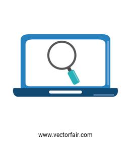 data analysis, laptop magnifier business strategy and investment flat icon