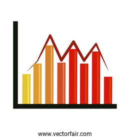 data analysis, financial business graph chart fluctuation flat icon