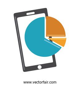 data analysis, smartphone pie chart report digital business strategy and investment flat icon