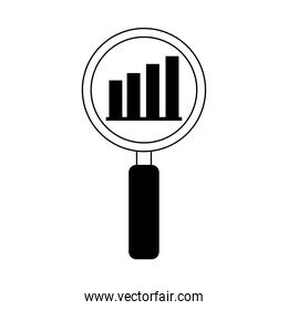 data analysis, magnifying glass diagram financial report line icon