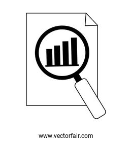 data analysis, document information chart economy magnifier line icon