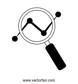 data analysis, magnifier dotted line chart marketing line icon
