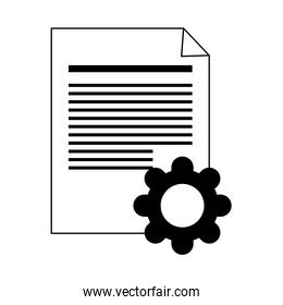 data analysis, document paper gear work line style icon