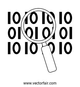 data analysis, magnifying glass binary digital development line icon