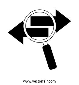 data analysis, magnifying glass searching information flow line icon