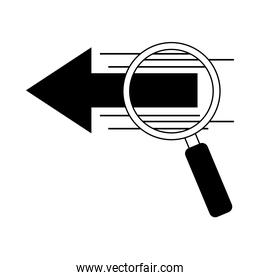 data analysis, magnifying glass research digital line icon