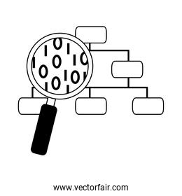data analysis, organization chart magnifier development line icon