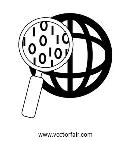 data analysis, magnifying glass world social management line icon