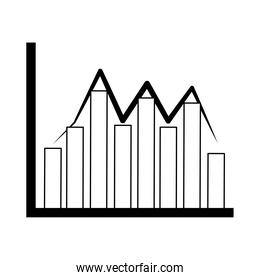 data analysis, financial business graph chart fluctuation line icon