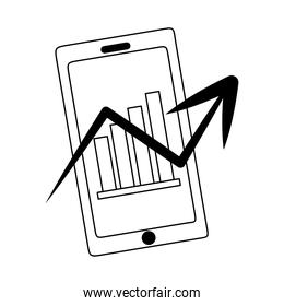 data analysis, smartphone screen with graphs, perspective business strategy line icon