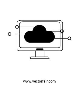 data analysis, computer cloud storage connection business strategy and investment line icon