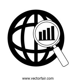 data analysis, world magnifier diagram financial report line icon