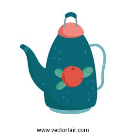 teapot with fruit decoration isolated design white background