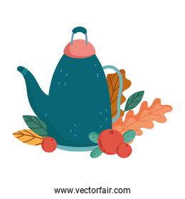 autumn teapot fruits leaves isolated design white background