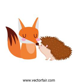 cute fox and hedgehod animals cartoon isolated design white background