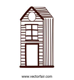 cottage rural architecture cartoon isolated design white background line style