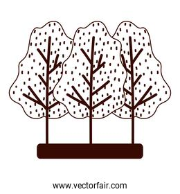 forest trees nature leaves autumn isolated design white background line style
