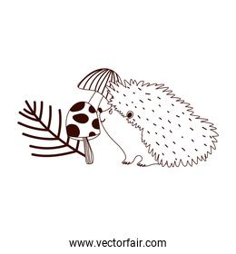 autumn hedgehog mushrooms branch isolated design white background line style