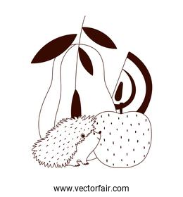 autumn hedgehog pear apple fruits isolated design white background line style
