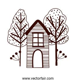 cartoon wooden house trees branch foliage nature line style