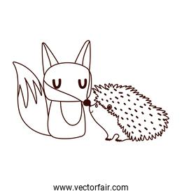 cute fox and hedgehod animals cartoon isolated design white background line style
