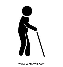 disabilities concept, pictogram old man walking with a cane, silhouette style