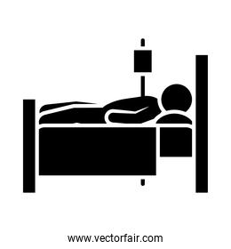 patient in hospital bed icon, silhouette style