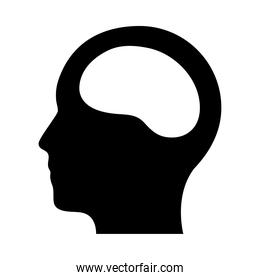 head with brain icon, silhouette style