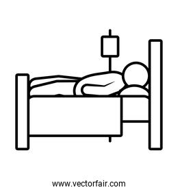 patient in hospital bed icon, line style