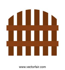 wooden fence icon, flat style