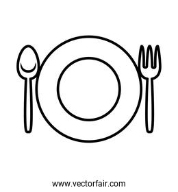 plate with fork and knife icon, line style