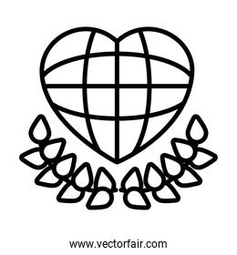 human rights concept, global sphere in heart shape and decorative leaves, line style