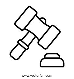 law gavel icon, line style