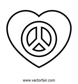 heart with peace symbol icon, line style