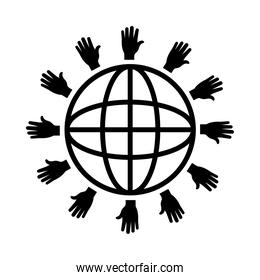 human rights concept, global sphere with hands around, line style