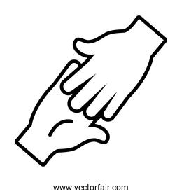 hands touching icon, line style
