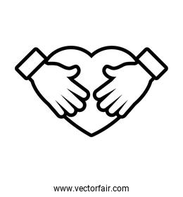heart with hands icon, line style