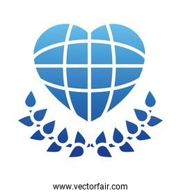 human rights concept, global sphere in heart shape and decorative leaves, gradient style