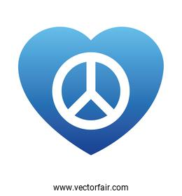 heart with peace symbol icon, gradient style