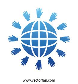 human rights concept, global sphere with hands around, gradient style