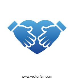 heart with hands icon, gradient style