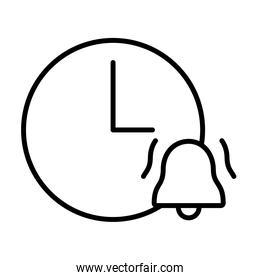 clock with alarm bell icon, line style