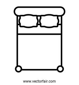 top view of double bed icon, line style