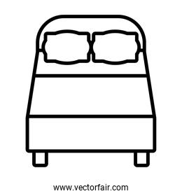 icon of double bed, line style