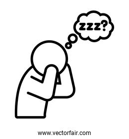 insomnia design, pictogram Man Suffers From Lack Of Sleep icon, line style