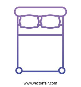 top view of double bed icon, gradient style