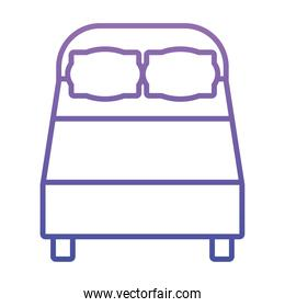 icon of double bed, gradient style
