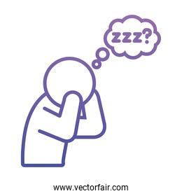 insomnia design, pictogram Man Suffers From Lack Of Sleep icon, gradient style