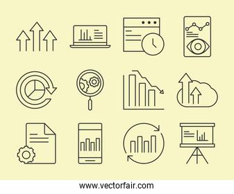 data analysis, business financial economy collection line icons