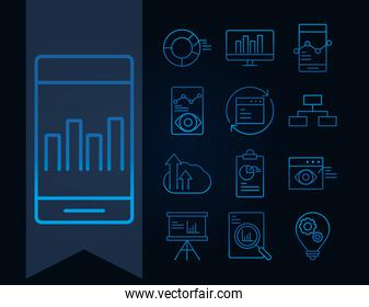 data analysis, business financial economy, collection gradient blue line icons